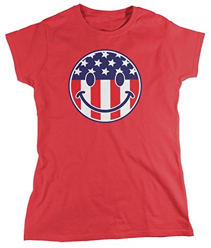 Flag Smiley Face, American Flag Smile T-shirt, Red Medium ()
