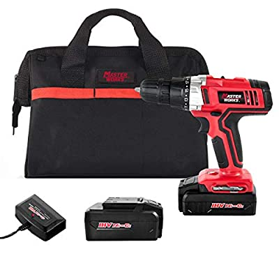 """Cordless Drill, 2 PACKS of Battery, Power Drill Driver Kit with, 3/8"""" Keyless Chuck, Variable Speed, 19+1 Position and LED Work Light, Masterworks"""