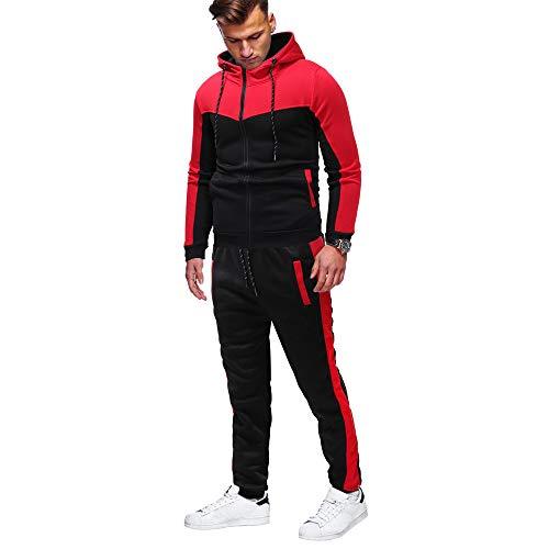Sport Keerads Vêtements Survêtement Poche shirt Sweat Habit Piqûre Hiver Fermeture Emballages Pantalon Hommes Haut De Casual Automne Rouge Ensemble Éclair Sweatpants rZ44Yntx