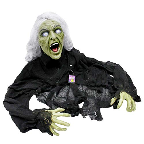 Halloween Motion Activated (Halloween Haunters 5' Animated Creepy Crawling Evil Zombie Witch Prop Decoration - Head Turns, Cackle Laughs, Speaks, Light Up Eyes - Battery)