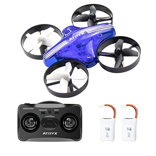 Cheap ATOYX AT-66 Mini Drones, Quadcopter Auto Hovering Headless Mode 3D Flips 3 Speeds Helicopter RC Plane Toy with Bonus Batteries Drone for Kids Beginners (Blue)