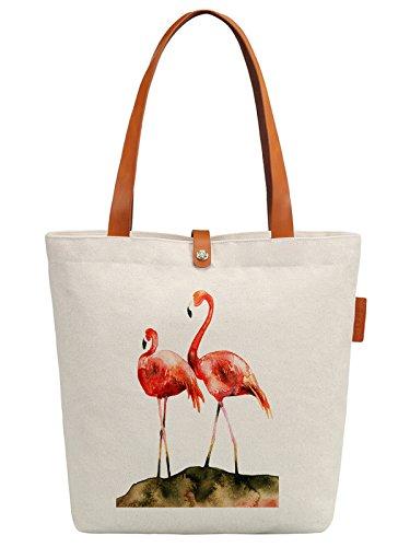 So'each Women's Flamingos Art Paniting Top Handle Canvas Tote Shoulder Bag