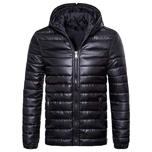 MogogoMen Hooded Zip Fall Winter Warm Solid Light Weight Down Jacket Black