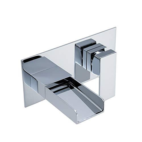 KunMai Waterfall Wall Mount 2 Hole Bathroom Sink Faucet in Chrome,Rough-in Valve Included