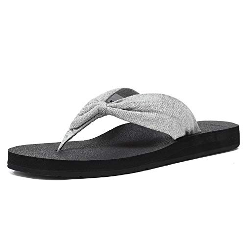 EQUICK Women's Flip Flops Arch Support Yago Mat Insole Thong Sandal Casual Slipper Outdoor and Indoor-U219SLT004-Light Gray-41