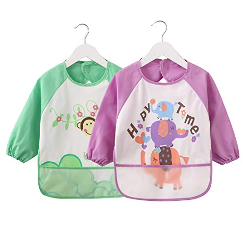 Baby Bibs with Sleeves 2 Pack, Unisex Infant Toddler Waterproof Long Sleeved Bib with Pocket, 6-36 Months
