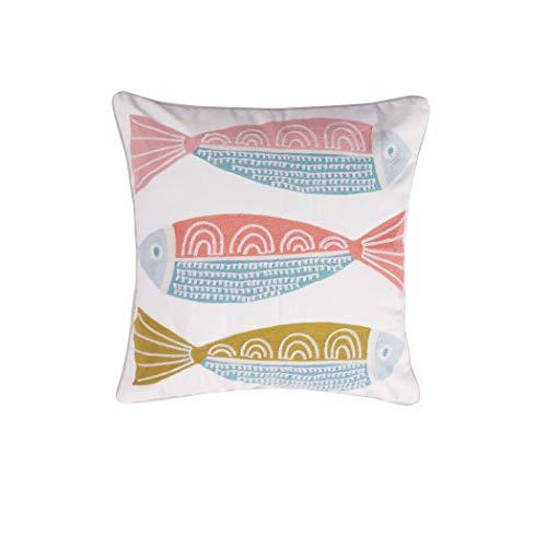 Levtex Beacon Multi Crewel Stitch Fish Pillow, Beach, 100% Cotton, White, Orange, Green