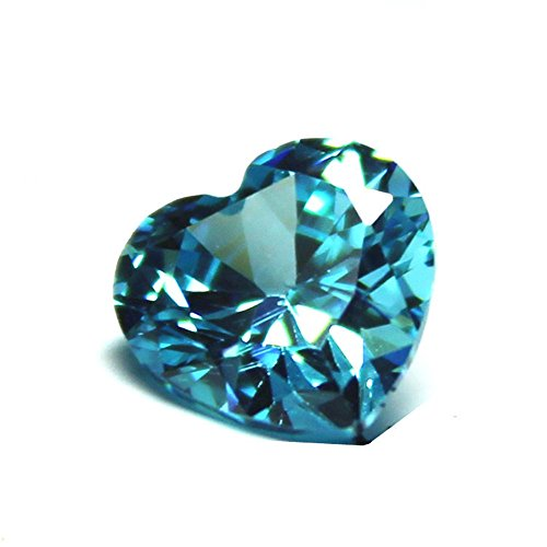 Aquamarine Heart Shape Faceted Gemstone Heart Shaped Cut Aquamarine Gem Multiple Sizes to Choose C47A ()