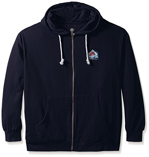 - NHL Colorado Avalanche Women's Full Zip Fleece Logo Distressed Screen Print Hoodie, 1X, Navy/White