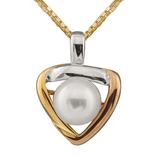 Handpicked AA Quality Freshwater Cultured Pearl Tri-color 10K Gold Pendant on a 18