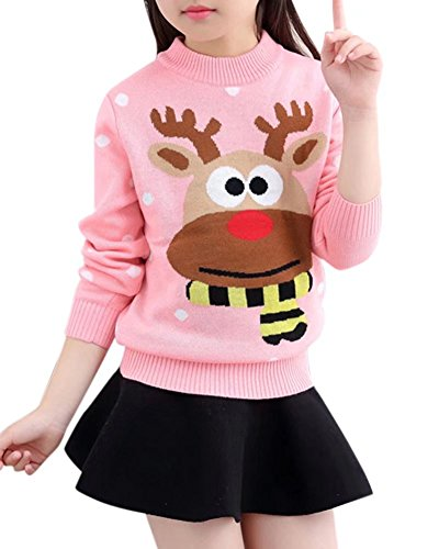 Kids Long Sleeves Ugly Cute Reindeer Christmas Jumper Sweater Pullover Tops for Little Girls & Big Girls, Pink 7-8 Years = Tag 140 ()