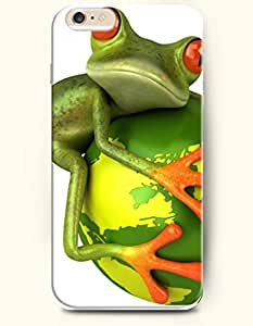 iPhone 6 Plus Case 5.5 Inches Green Frog Holding a Globe - Hard Back Plastic Case OOFIT Authentic