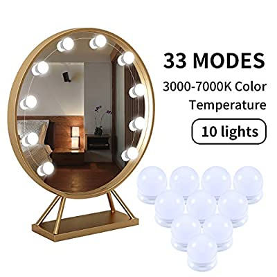 zoneyee Hollywood Style LED Vanity Mirror Lights Kit - 33 Modes and 3000-7000K Color Temperature User-Friendly Design; Bulb Distance 1ft, 10 Bulbs, Total Length 17ft?Latest Upgrade?