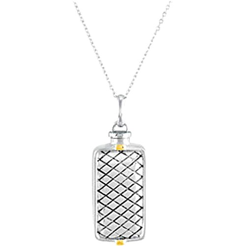 Rhodium Plate Sterling Silver and 14k Yellow Gold Ash Holder Necklace, 18'' by The Men's Jewelry Store