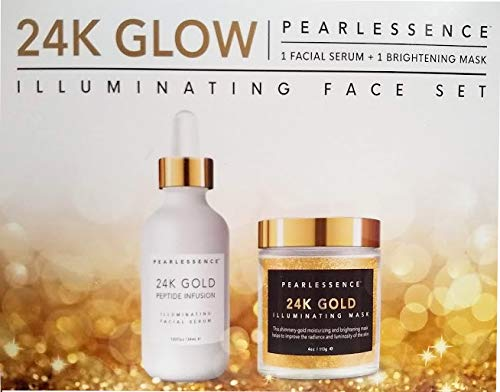 (Makeup Brightener Illuminating Face Set Serum (1.83 oz) and Mask (4 oz) Christmas Gift for Her)