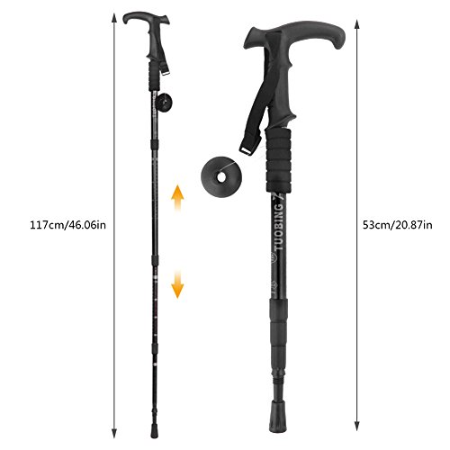 Hiking Stick (2 Packs) PAMISO T-shape Trekking Hiking Sticks Poles Alpenstock Adjustable telescoping Anti Shock Nordic Walking mountaineering (Black)