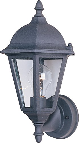 Maxim 1002BK Westlake Cast 1-Light Outdoor Wall Lantern, Black Finish, Clear Glass, MB Incandescent Incandescent Bulb , 100W Max., Dry Safety Rating, Standard Dimmable, Glass Shade Material, 5750 Rated Lumens (Mounts Lighting Wall Mediterranean)