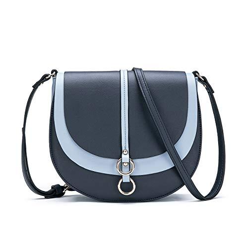 Women Crossbody Bag Saddle Shoulder Bag Small Satchel Purse and Blue Tote Handbag