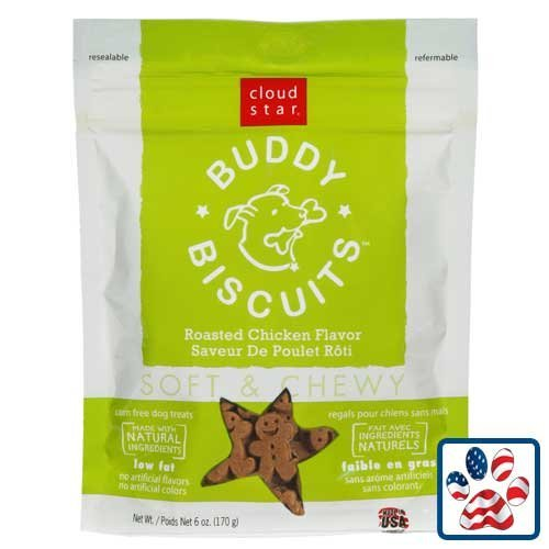 Cloud Star Soft & Chewy Buddy Biscuits Dog Treats, Roasted Chicken Flavor, 6-Ounce Pouches (Pack of (Buddy Biscuits Sweet Potato)