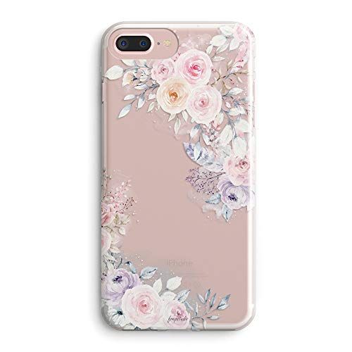 iPhone 5s Case,iPhone SE Case,Cute Spring Roses Floral Flowers Daisy Blooms Obsession Camellia Trendy Pink Purple Chic Garden Lovely Women Girls Clear Soft Case Compatible for iPhone SE/iPhone 5S ()