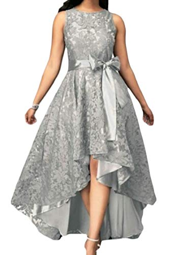 Domple Women Lace High Low Belted Sleeveless Fashion Cocktail Long Dress Silver -