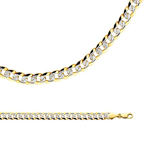 Solid 14k Yellow White Gold Chain Cuban Necklace Pave Diamond Cut Two Tone Big Heavy 8.2 mm 24 inch - Gold Heavy Cuban Pave Chain