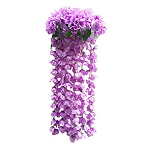 Sttech1 Hanging Flowers Artificial Violet Flower Wall Wisteria Basket Hanging Garland Vine Flowers Simulation Fake Silk Orchid Wedding Home Garden Balcony Floral Decoration (Purple) 67
