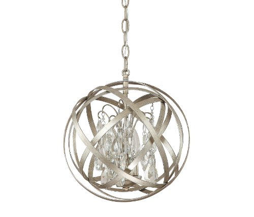 Capital Lighting 4233WG-CR Axis 3-Light Pendant, Winter Gold Finish with Clear Crystal Accents