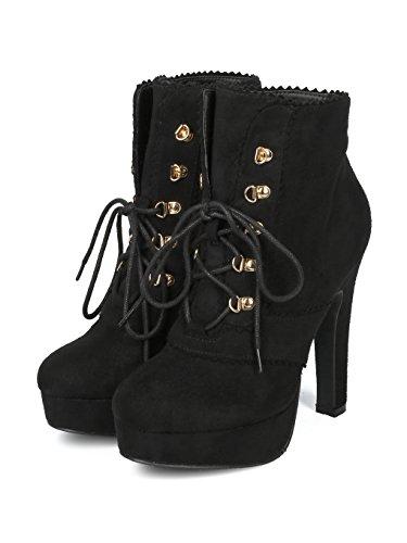 Black Suede Bootie Toe Chunky Lace Heel Platform Up Suede Alrisco Faux Faux Round HF29 Women qEwFRT7