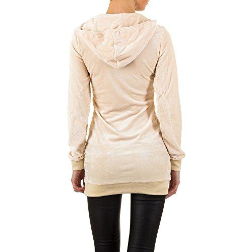 Kapuzen Samt Pullover Für Damen , Creme In Gr. S bei Ital-Design