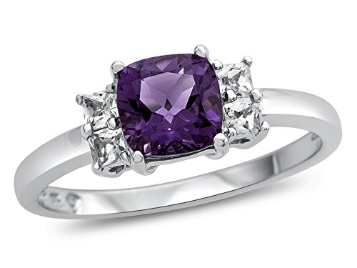 (Finejewelers 6x6mm Cushion Amethyst and White Topaz Ring 10 kt White Gold Size 6)