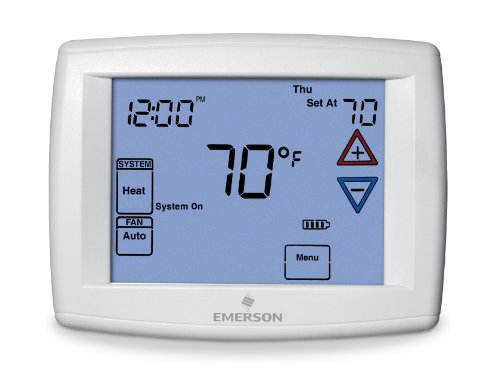 (Emerson 1F97-1277 Touchscreen 7-Day Programmable Thermostat for Single-Stage and Heat Pump Systems)
