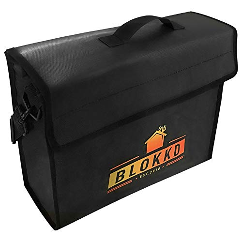 Fireproof Lock Box Bag for Documents - Fire Proof Safe Document Holder Bags - Waterproof Storage Safety for Files, Money, Passport, Jewelry, Valuables - 13 x 16 x 5 inches by Blokkd ()