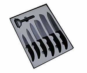 Pradel Excellence - Estuche con 6 cuchillos de cocina de hoja cerámica y pelador, color negro
