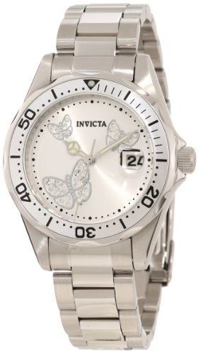 Invicta Women's 12503 Pro Diver Silver Dial Watch (Butterfly Watches)