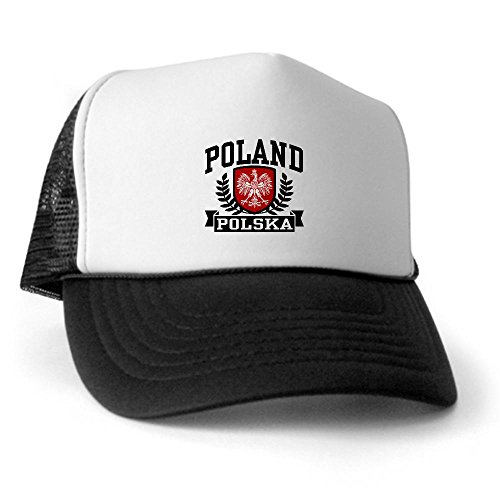 CafePress - Poland Polska Trucker Hat - Trucker Hat, Classic Baseball Hat, Unique Trucker Cap Black/White ()