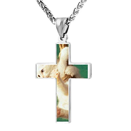 Gjghsj2 Cross Necklace Pendant Religious Jewelry Funny Cat Design For Men Wome -