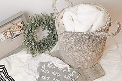 Cotton Rope Baby Basket - Decorative Woodland Nursery Organizer/Storage Basket for Toys, Baby Essentials, Blankets - Neutral Nursery Decor Piece - Baby Furniture - Baby Registry