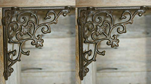 Bracket French Country - Southern Metal French Country Farmhouse Open Shelving Shelf Brackets Supports, Cast Iron ~ 5 1/2 inches, Set of 2 B-52B