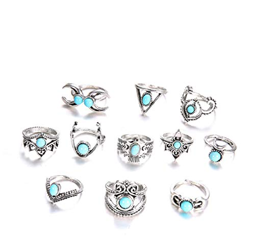 (Setita 11 Pieces Retro Turquoise Eagle Owl Moon Joint Knuckle Nail Midi Ring Set Boho Ring Set, Ancient)