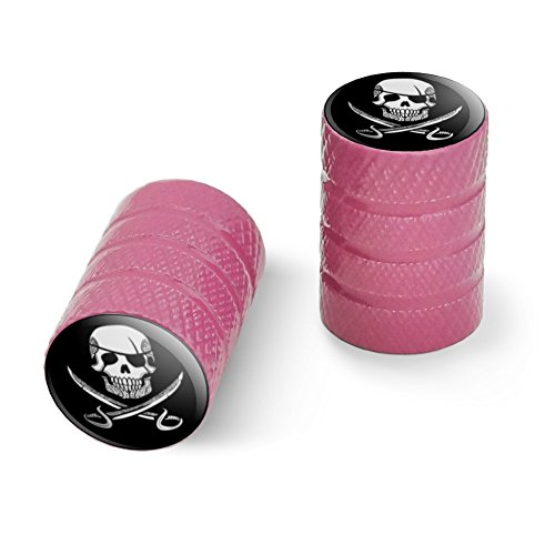 海賊の頭蓋骨交差刀の入れ墨のデザインオートバイ自転車バイクタイヤリムホイールアルミバルブステムキャップ - ピンク