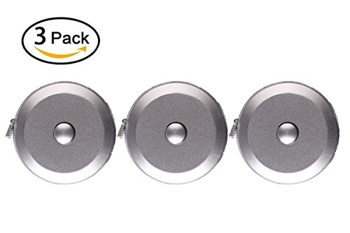 Soft Retractable Measuring Tape, Mini Tape Measure Body Tailor Sewing Craft Cloth Tape Measure, 60-Inch (1.5 Meter), Silver, 3-Pack