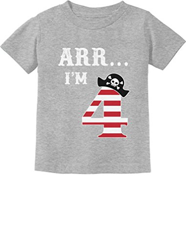 ARR I'm 4 Pirate Birthday Party Four Years Old Toddler/Infant Kids T-Shirt 4T Gray]()