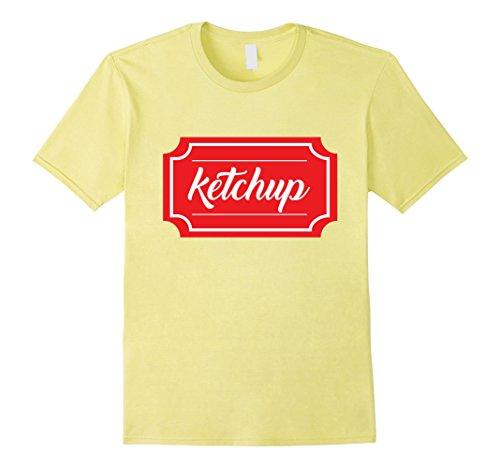 Men's Ketchup Shirt, Funny Condiment Matching Halloween Costume Medium Lemon (Ketchup And Mustard Costume)
