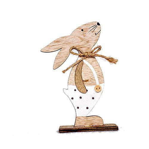 (V2AMZ - Clothes Spotted Rabbit Ornament Wooden Rabbit Doll Home Decor Scene Decoration Crafts)