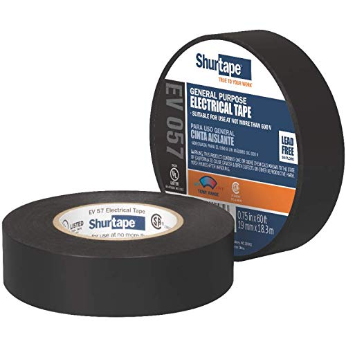 3/4'' - Shurtape EV 57 General Purpose, Flame Retardant, Vinyl Electrical Tape, Black - 100 Rolls/Case (2 Cases)