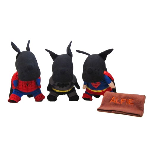 Alfie Pet by Petoga Couture - Superhero Costume 3-Piece with Microfiber Fast-Dry Washcloth Set: Batman, Spiderman and Superman - Size: Medium (Super Easy Fast Halloween Costumes)