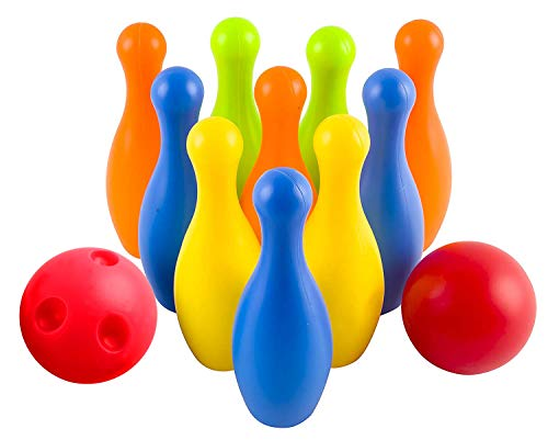 Toy Bowling Play Set Deluxe for Children Children's Colorful 12 Piece Toy Bowling Set w/ 10 Pins, 2 Bowling Balls, Carrying Case by Vokodo