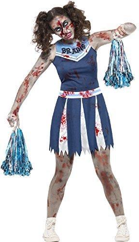 Teen & Older Girls Dead Zombie Bloody American Blue Cheerleader Halloween Fancy Dress Costume 12-16 Years (14-16 Years) -