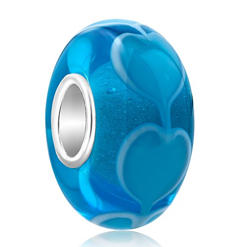LovelyCharms Blue Heart Love Murano Glass 925 Sterling Silver Core Bead Fits Charm Bracelets (Charms Heart Glass)